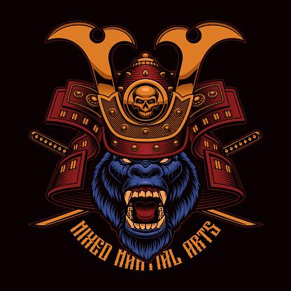 Colorful vector illustration of a gorilla samurai