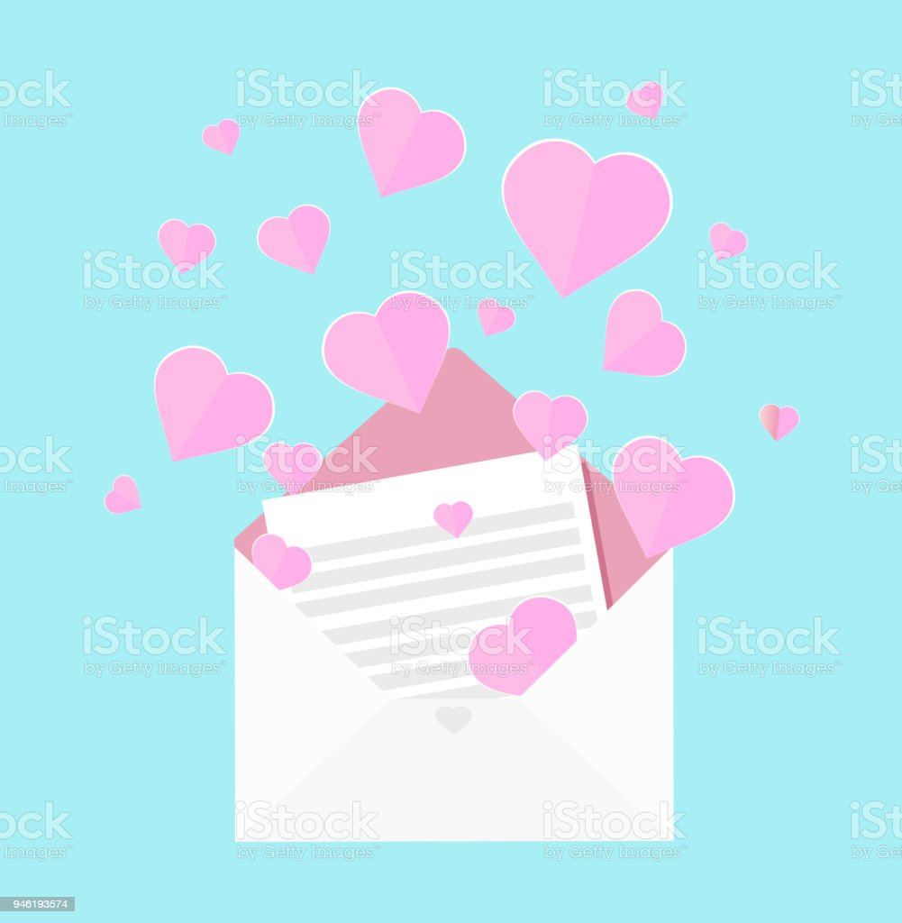 Colorful Vector Illustration Of Letter Of Love Pink Heart Floating ...