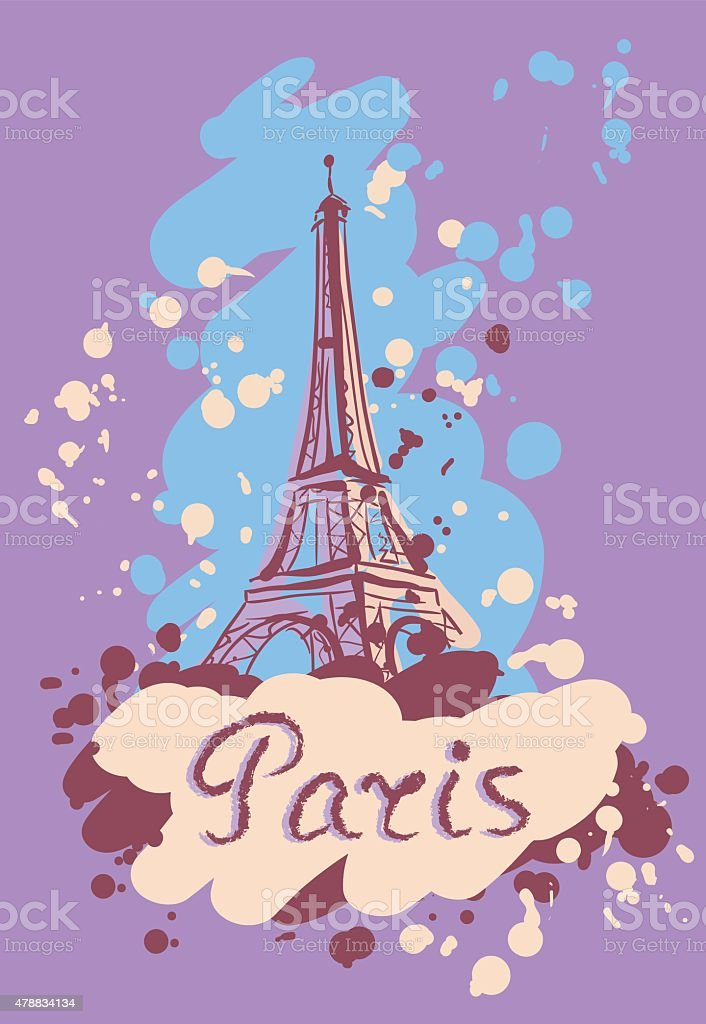 Colorful Vector Illustration Of Tower Eiffel Stock Illustration