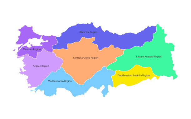 colorful vector isolated simplified map of turkey regions. borders and names of administrative divisions. - turcja stock illustrations