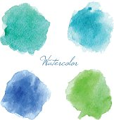 Colorful vector isolated watercolor paint stamps.