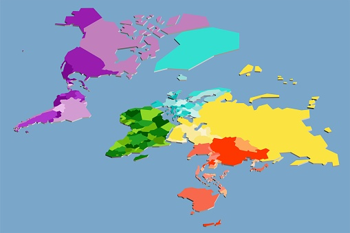 Colorful vector isometric world map complete with all countries. Vector illustration.