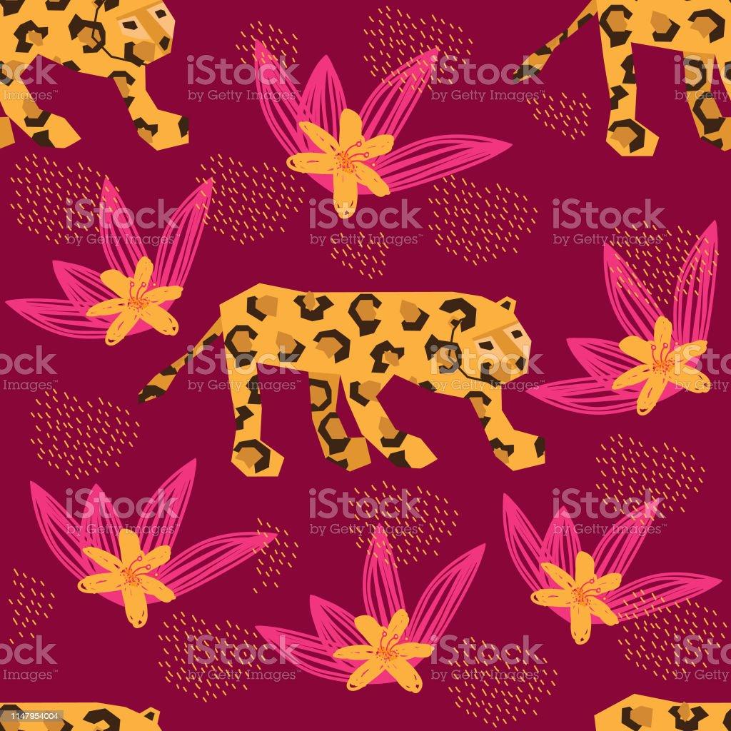 カラフルなベクトルジャングルシームレスなパターンフラミンゴ虎キリンヒョウや熱帯の葉壁紙ギフトペーパーclothersテキスタイルプリントのための紙のカット効果の図面 アフリカのベクターアート素材や画像を多数ご用意 Istock