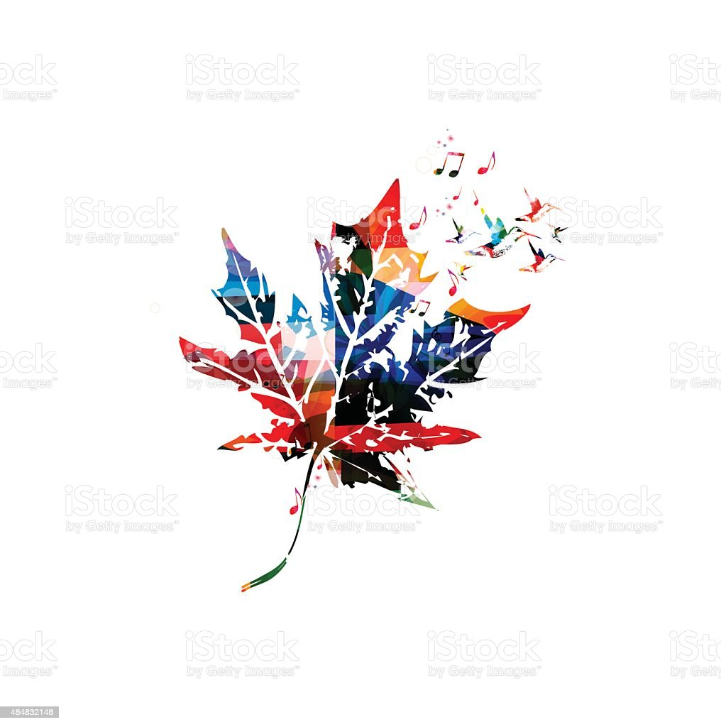 Colorful vector maple leaf with hummingbirds vector art illustration