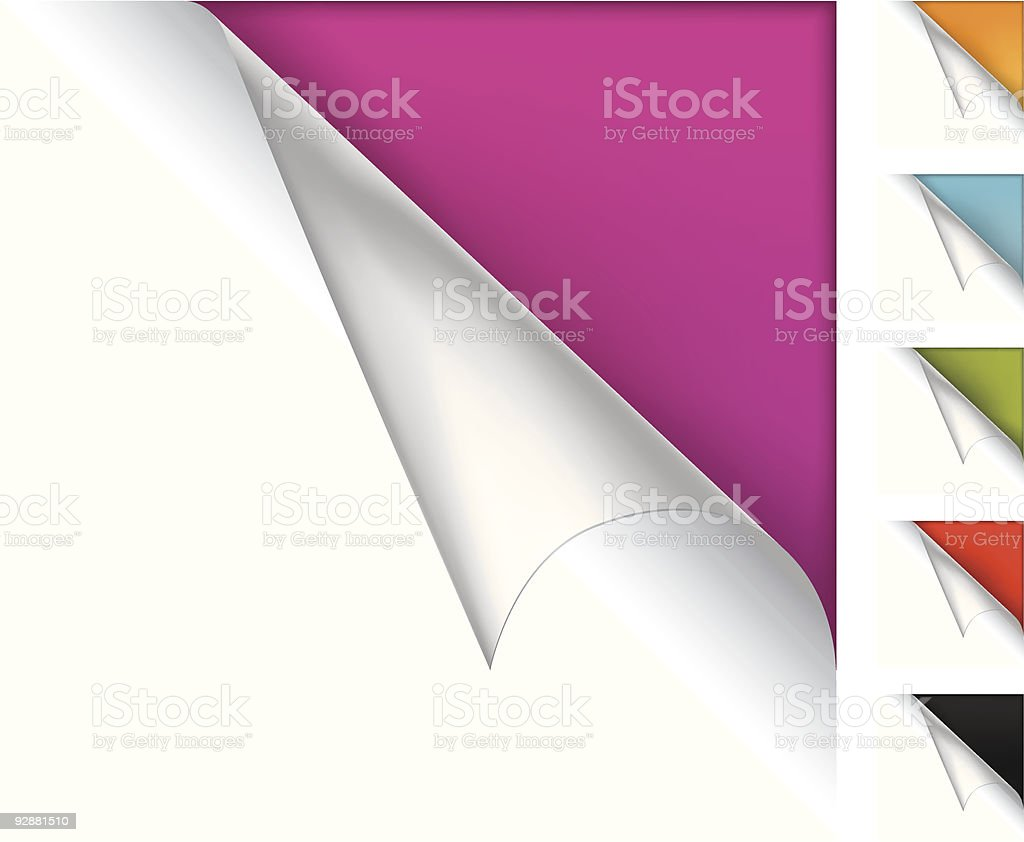 Colorful vector page curled corners royalty-free stock vector art