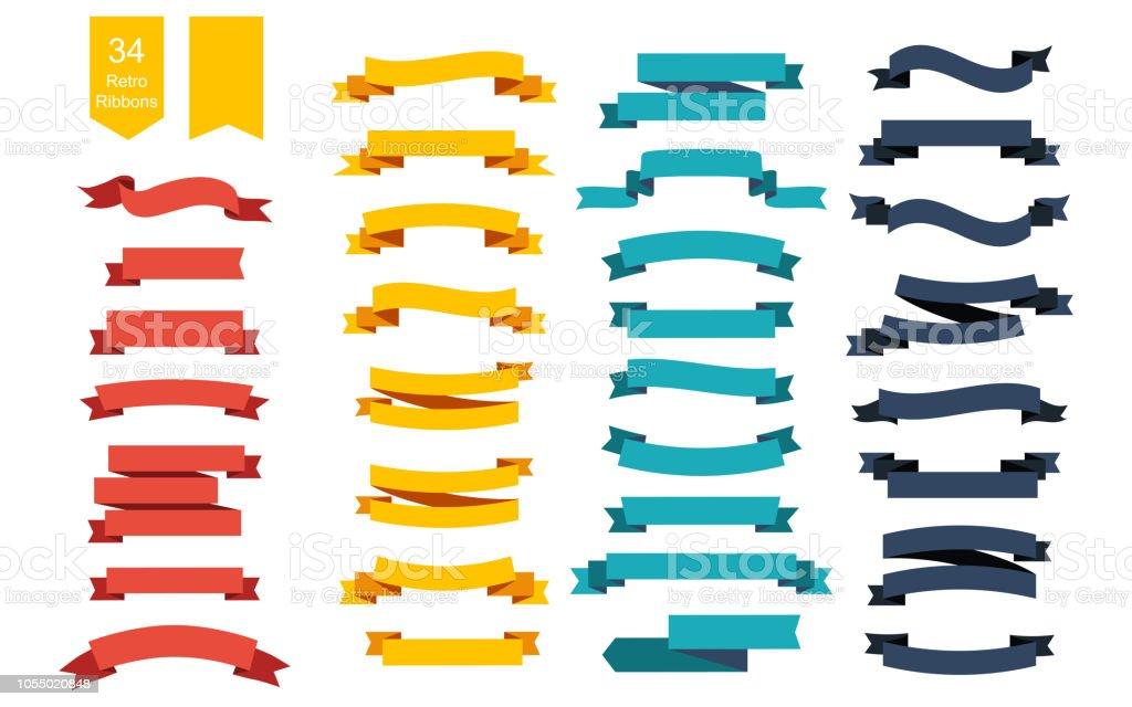 カラフルなベクトルのリボン バナー。34 リボンのセット - アイコンのロイヤリティフリーベクトルアート