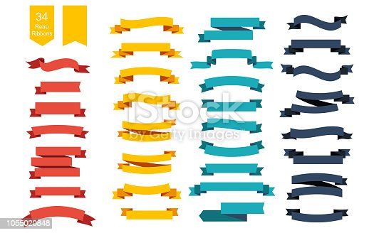 Colorful Vector Ribbon Banners. Set of 34 ribbons. Eps10