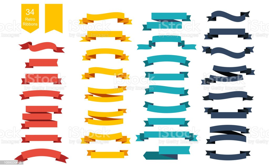 Colorful Vector Ribbon Banners. Set of 34 ribbons vector art illustration