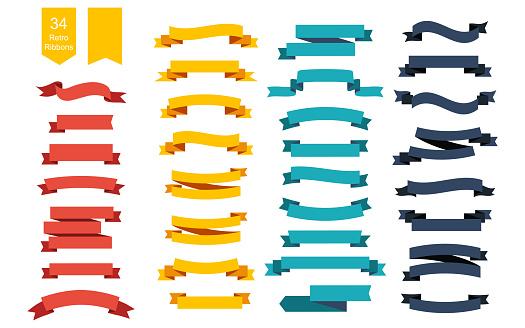 五顏六色的向量絲帶橫幅一套34絲帶向量圖形及更多一組物體圖片