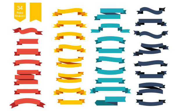 colorful vector ribbon banners. set of 34 ribbons - ribbon sewing item stock illustrations