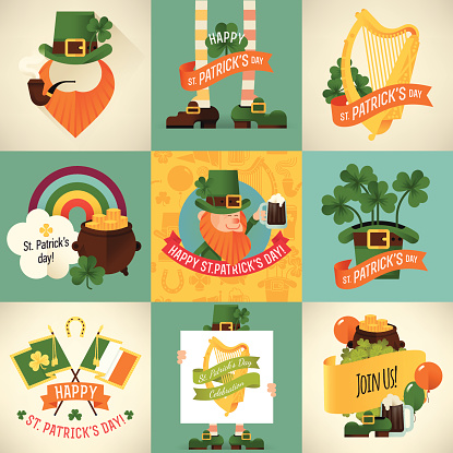 Colorful vector Saint Patrick's day design items