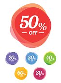Colorful vector sale tags. Best price super sale.