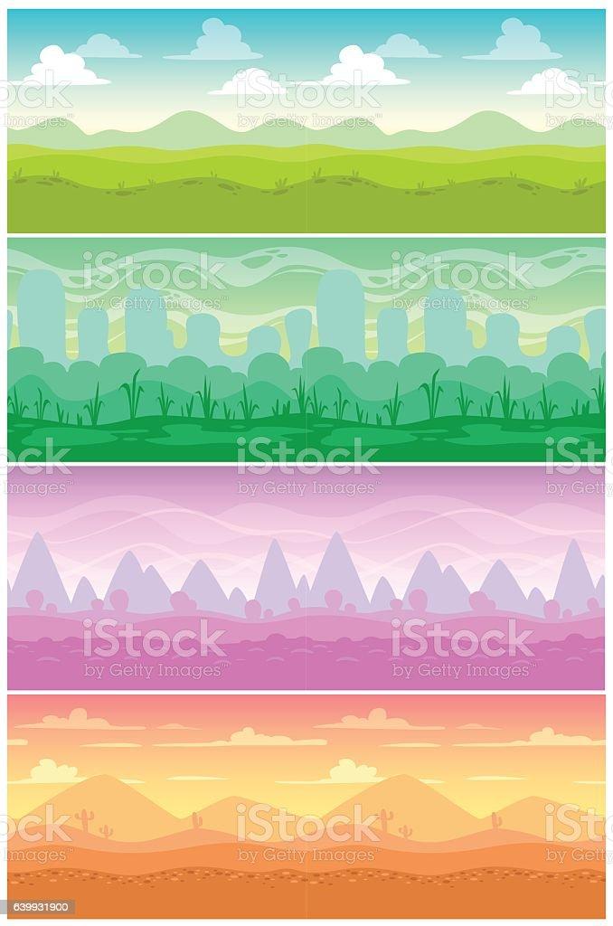 Colorful vector seamless landscapes set. vector art illustration