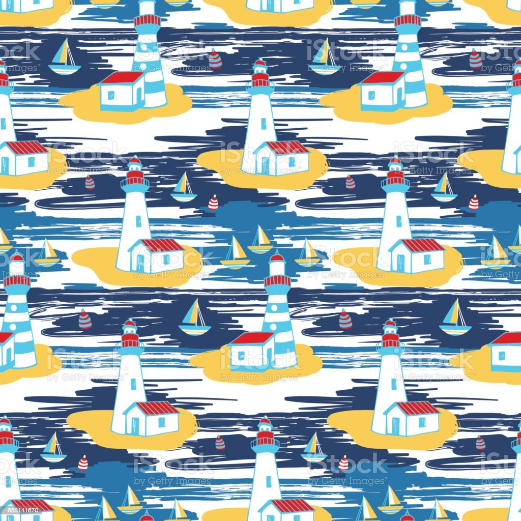 Colorful vector seamless pattern with lighthouse landscape vector art illustration