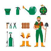 Colorful vector set of garden icons: garden tools, equipment,  gardener. Concept of gardening.