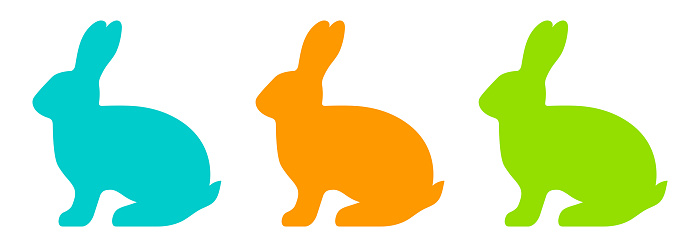 Colorful vector set of silhouettes of a rabbit on white background