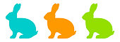Colorful vector set of silhouettes of a rabbit on white background. Vector EPS 10