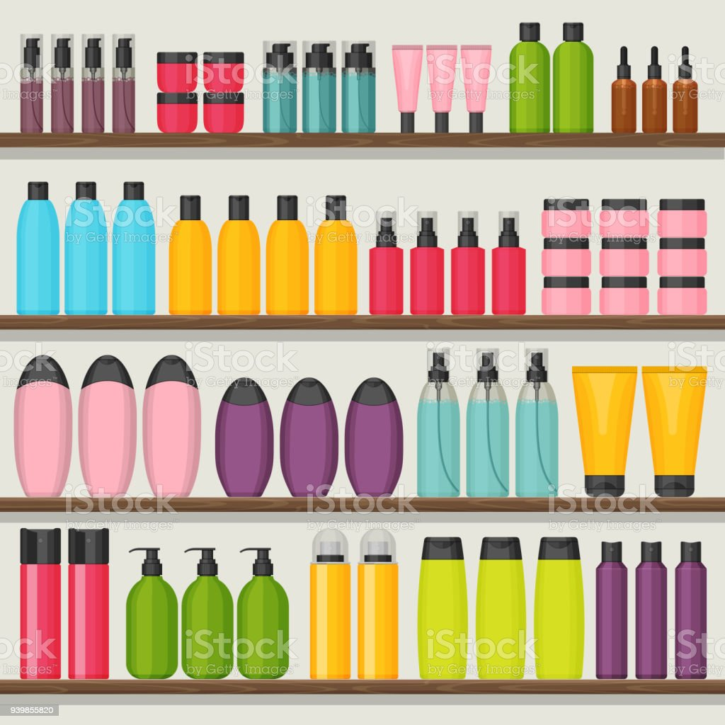 Colorful vector shop shelves with cosmetic bottles vector art illustration