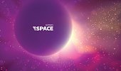 Colorful vector space background. Abstract nebula backdrop. Sun and star glowing
