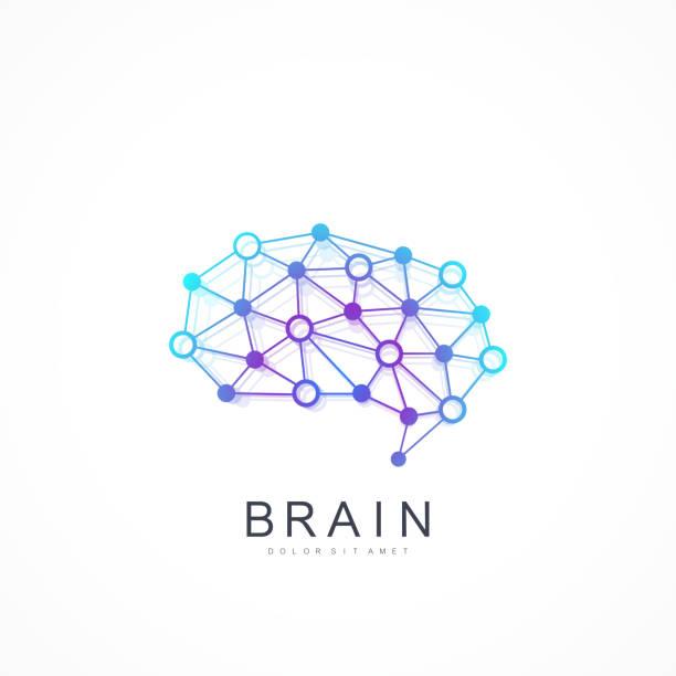 Bunte Vector Vorlage Gehirn-Logo. Künstliche Intelligenz Logo. Künstliche Intelligenz und maschinelles Lernkonzept. Vector Symbol AI. Kreative Idee Concept Design Brain Logotype Icon. – Vektorgrafik