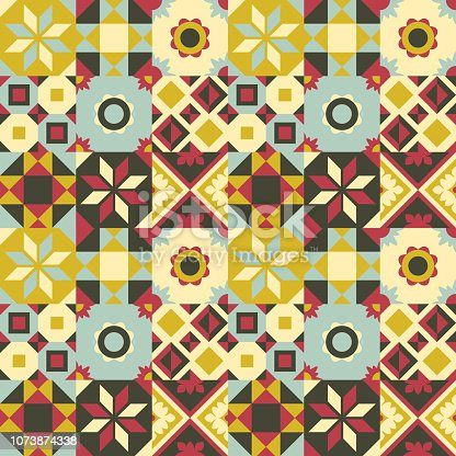 Colorful vector tiles seamless pattern background. Traditional ornate decorative tiles. Use for backgrounds on paper stationery, fashion fabrics, wallpapers and print on demand products.