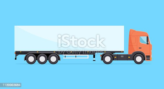 istock Colorful vector truck illustration. Heavy truck with semitrailer isolated icon 1139963684
