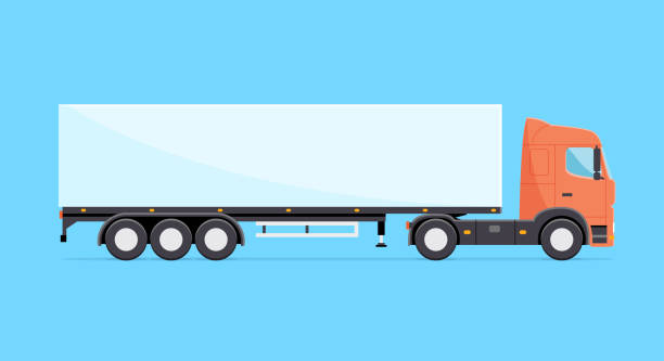 Colorful vector truck illustration. Heavy truck with semitrailer isolated icon Colorful vector truck illustration. Heavy truck with semitrailer isolated icon semi truck stock illustrations