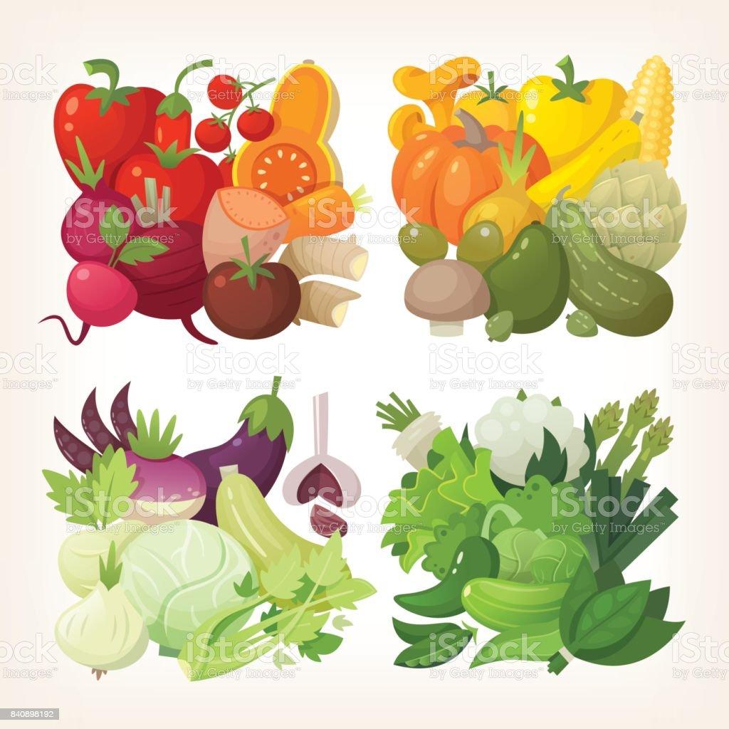 Colorful Vector Vegetables Stock Illustration - Download