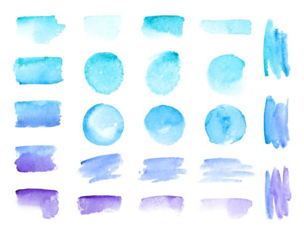 화려한 벡터 수채화 브러시 스트로크입니다. 무지개 색 수채화 물감 페인트 얼룩 벡터 배너 배경 세트 - 수채화 물감 stock illustrations