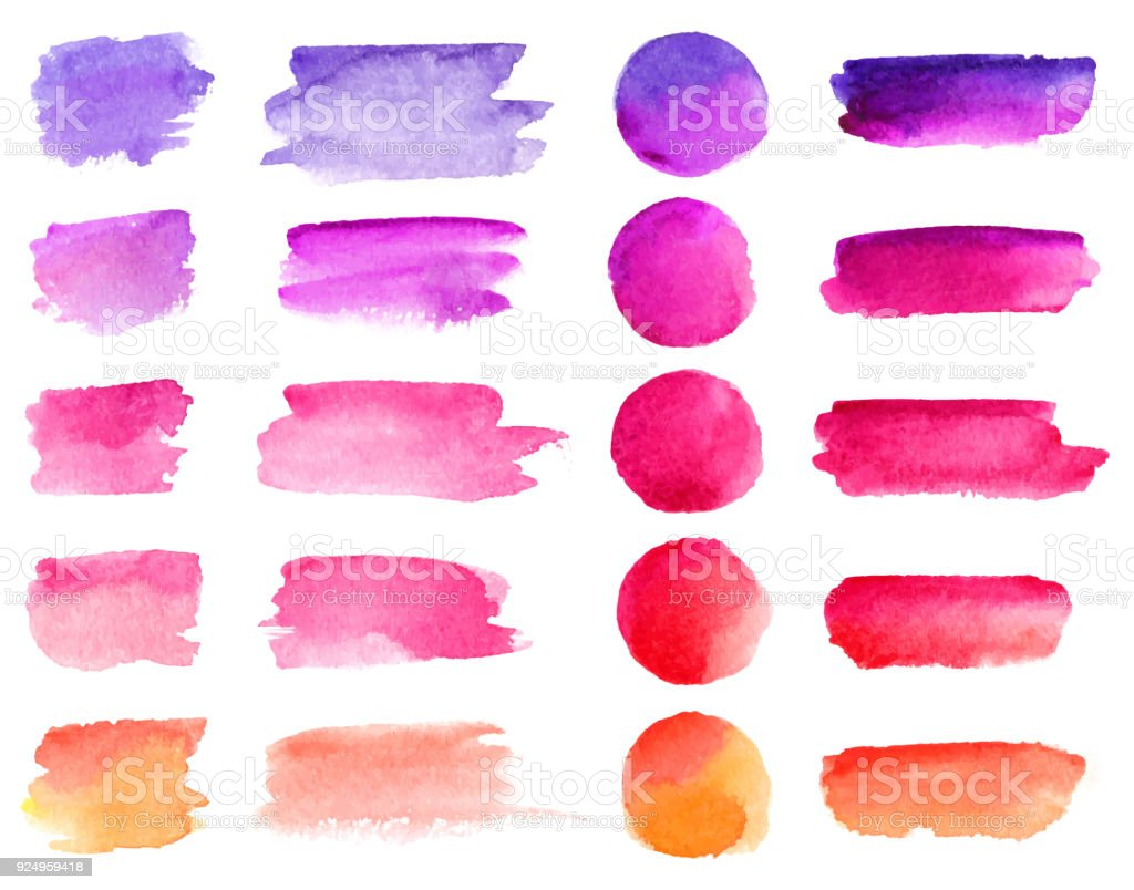 Colorful vector watercolor brush strokes. Rainbow colors watercolor paint stains vector banner backgrounds set vector art illustration