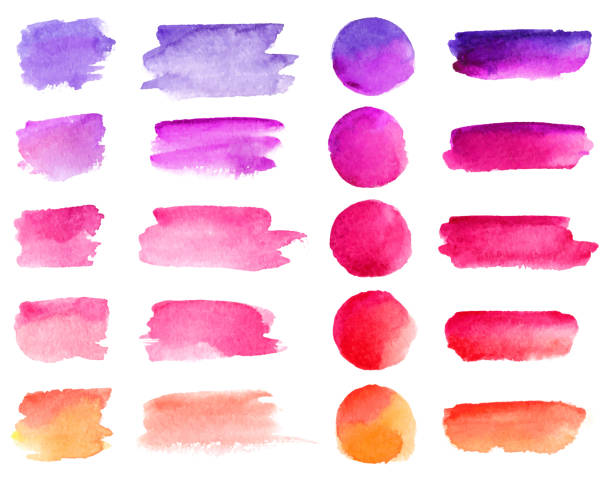 colorful vector watercolor brush strokes. rainbow colors watercolor paint stains vector banner backgrounds set - blue drawings stock illustrations