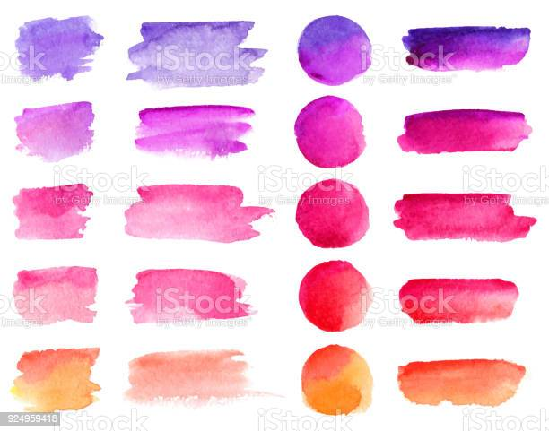 Colorful vector watercolor brush strokes. Rainbow colors watercolor paint stains vector banner backgrounds set.