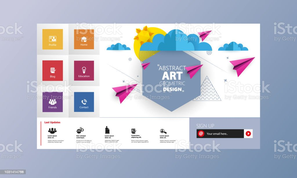 Colorful Vector Website With Origami Paper Clouds And Sky Header