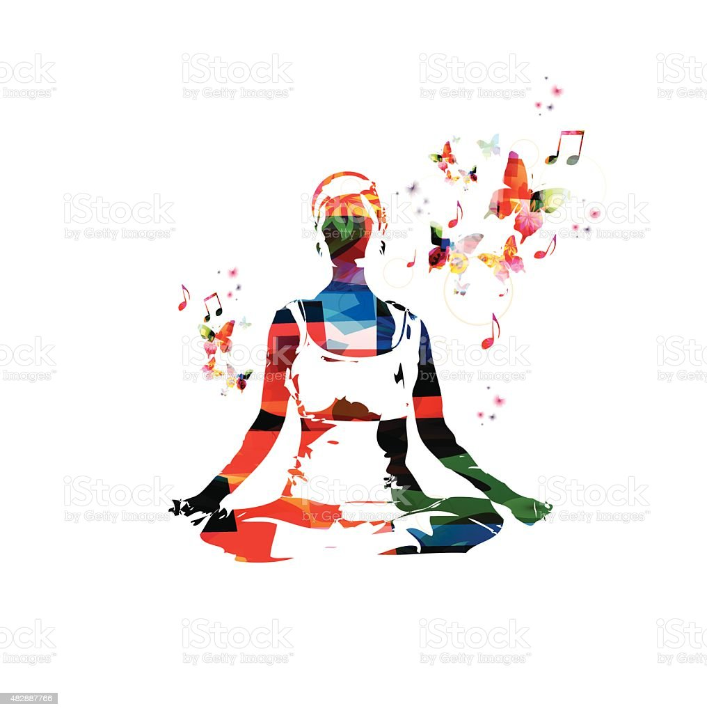 Colorful vector woman in the yoga pose background with butterflies vector art illustration