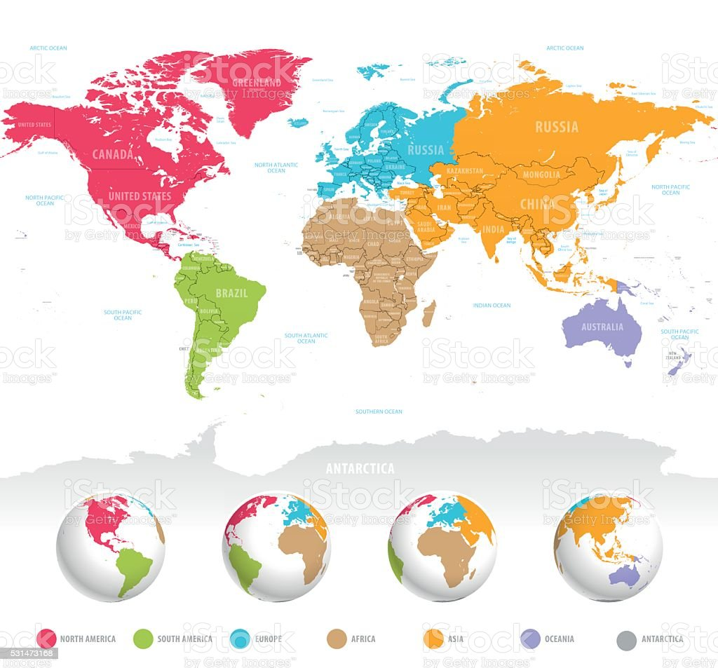 Colorful vector World Map vector art illustration
