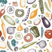 Seamless harvest background. Ink hand drawn vegetables sketch. Vinatge vegetables illustration. Harvest design.