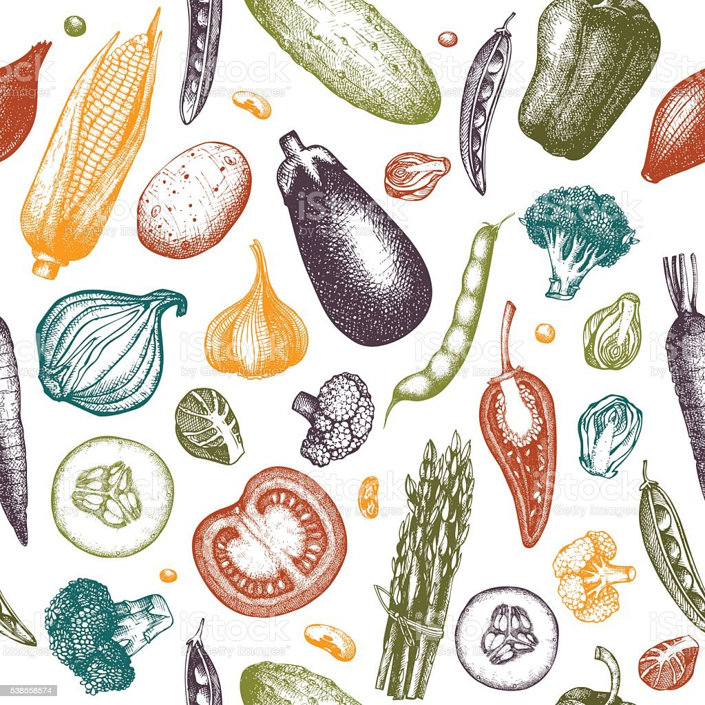 Colorful vegetables pattern vector art illustration