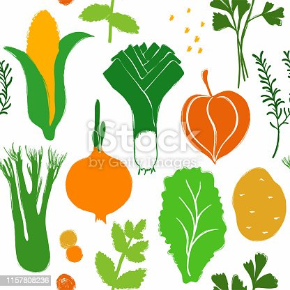 Abstract colorful veggies seamless pattern on a white background. Vegetables and herbs collection.