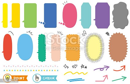 Set of vertical speech bubbles in flat design in various colors