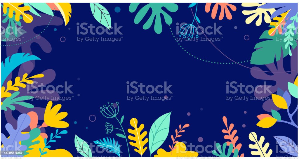 Colorful, vibrant colors palm leaves background. Tropical illustration, Jungle foliage vector art illustration