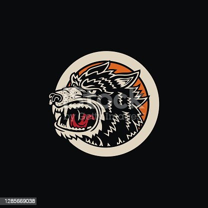 Colorful Vintage Angry Wolf Badge Apparel T-Shirt Design Illustration