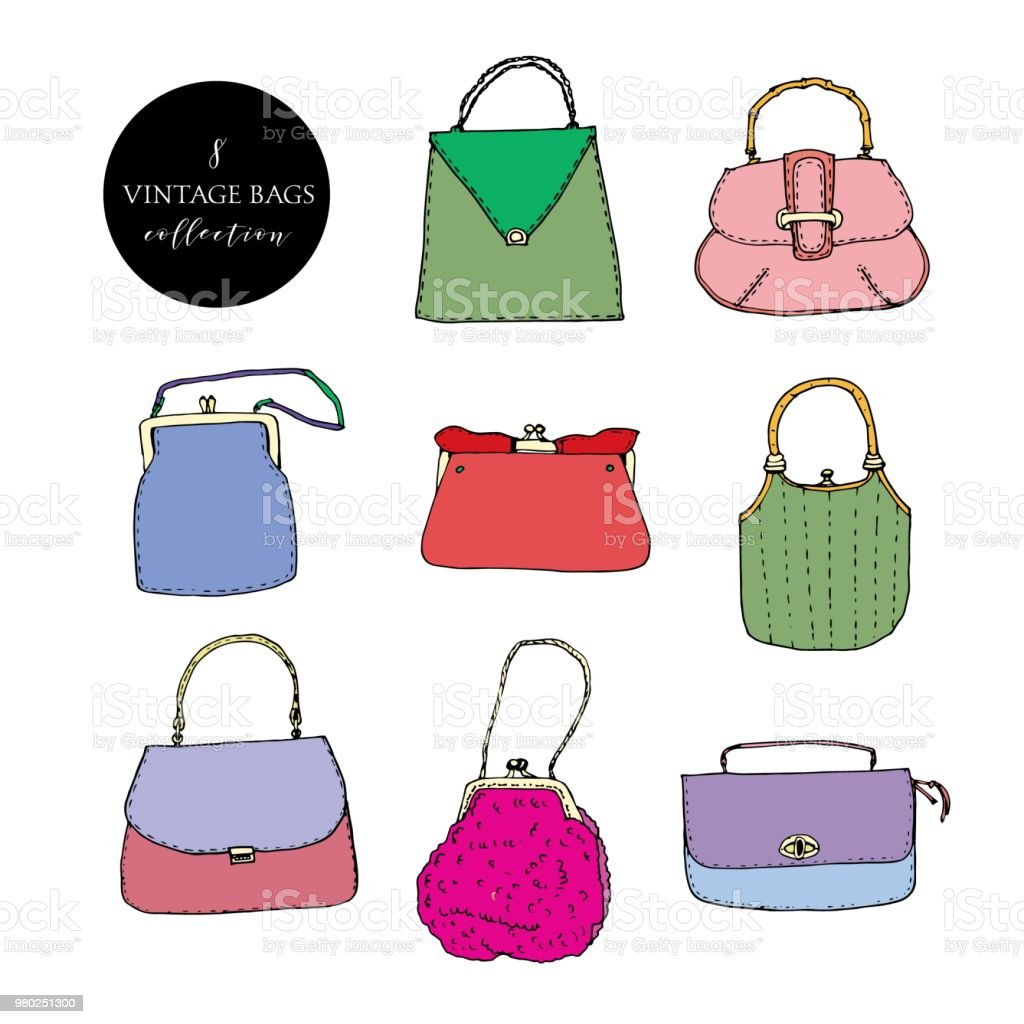 fa57c414 Colorful vintage bags, clutches and purses collection. Hand drawn vector  illustration. Elegant and