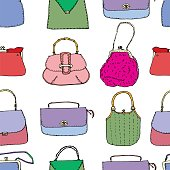 19cdd59d Colorful vintage bags, clutches and purses seamless pattern. Hand drawn  vector illustration.