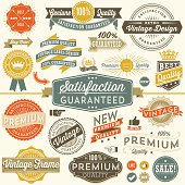 Set of colorful vintage frames, banners, labels and ornaments.  Each design is grouped and colors are global for easy editing.