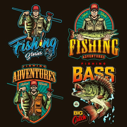 Colorful vintage fishing emblem