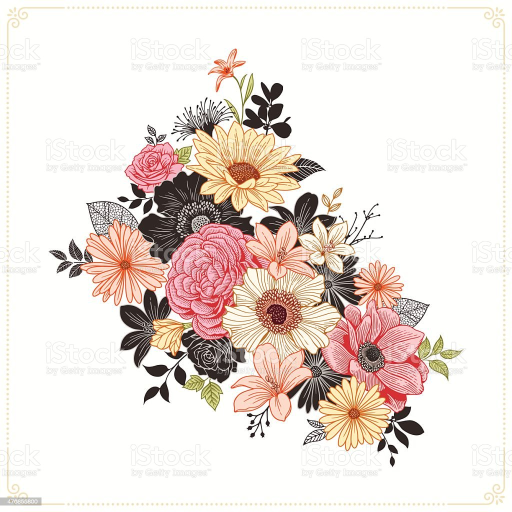 Colorful Vintage Flowers vector art illustration