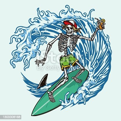 istock Colorful vintage surfing concept 1303308168