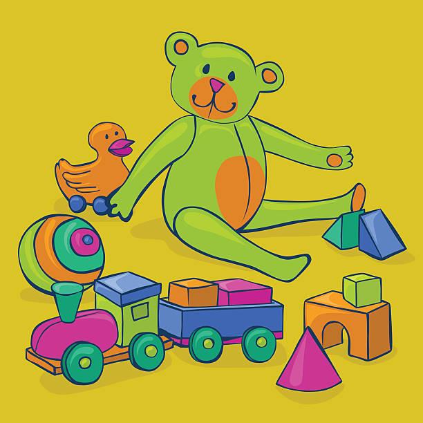 colorful vintage toys vector art illustration