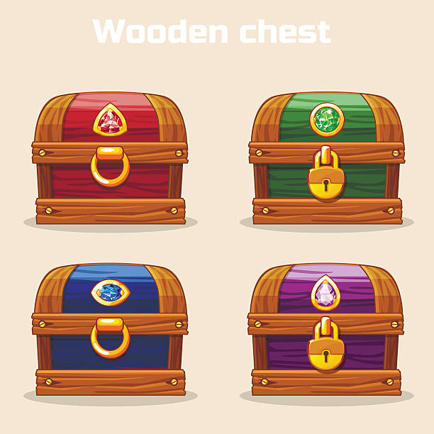 colorful vintage wooden chest with diamonds - schlüsselkasten stock-grafiken, -clipart, -cartoons und -symbole