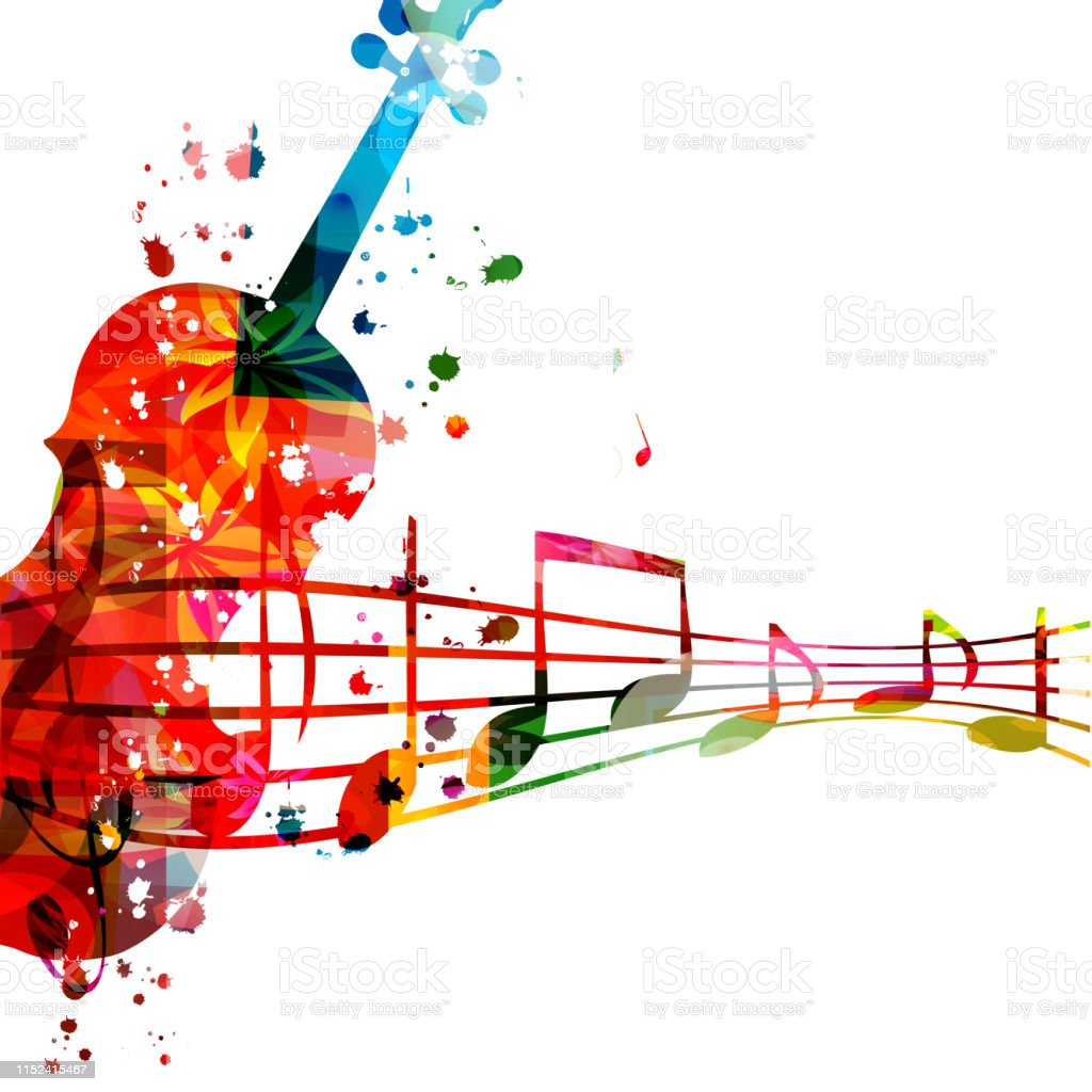 Colorful violoncello with music notes isolated vector illustration...